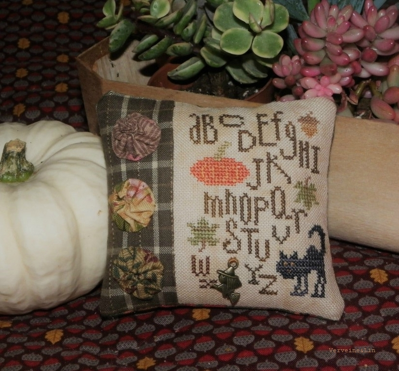 autumn alphabet pincushion