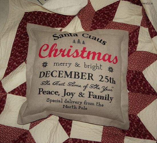 coussin Christmas point de croix