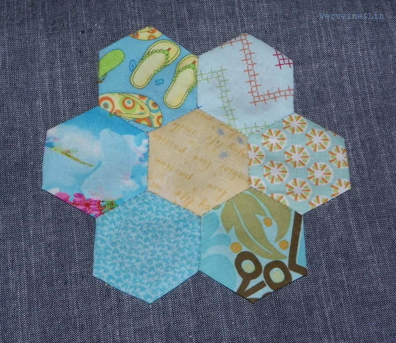 fleur en english paper piecing jardin de grand-mère en hexagones