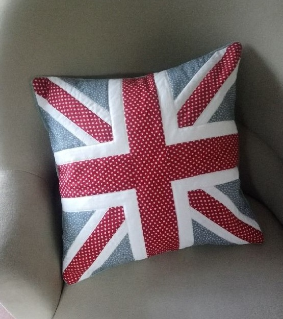 coussin Union Jack en patchwork