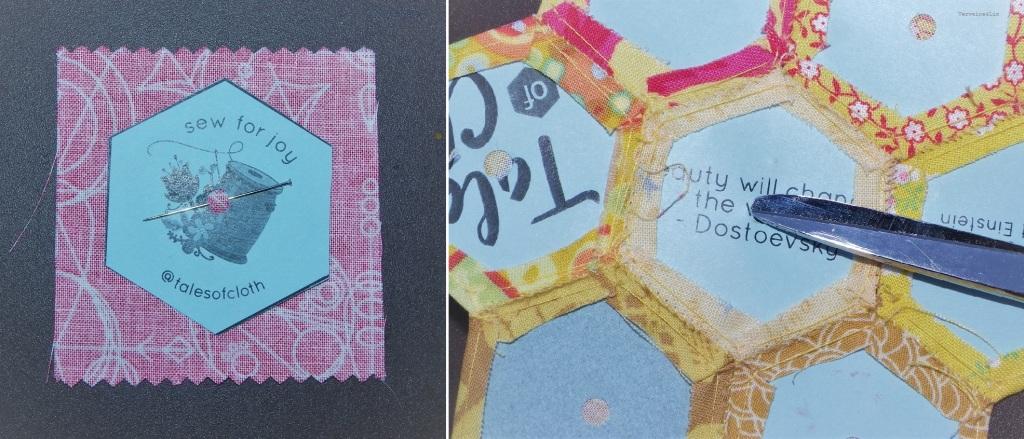 Pourquoi je fais un petit trou dans mes gbarits d'hexagones pour l'english paper piecing