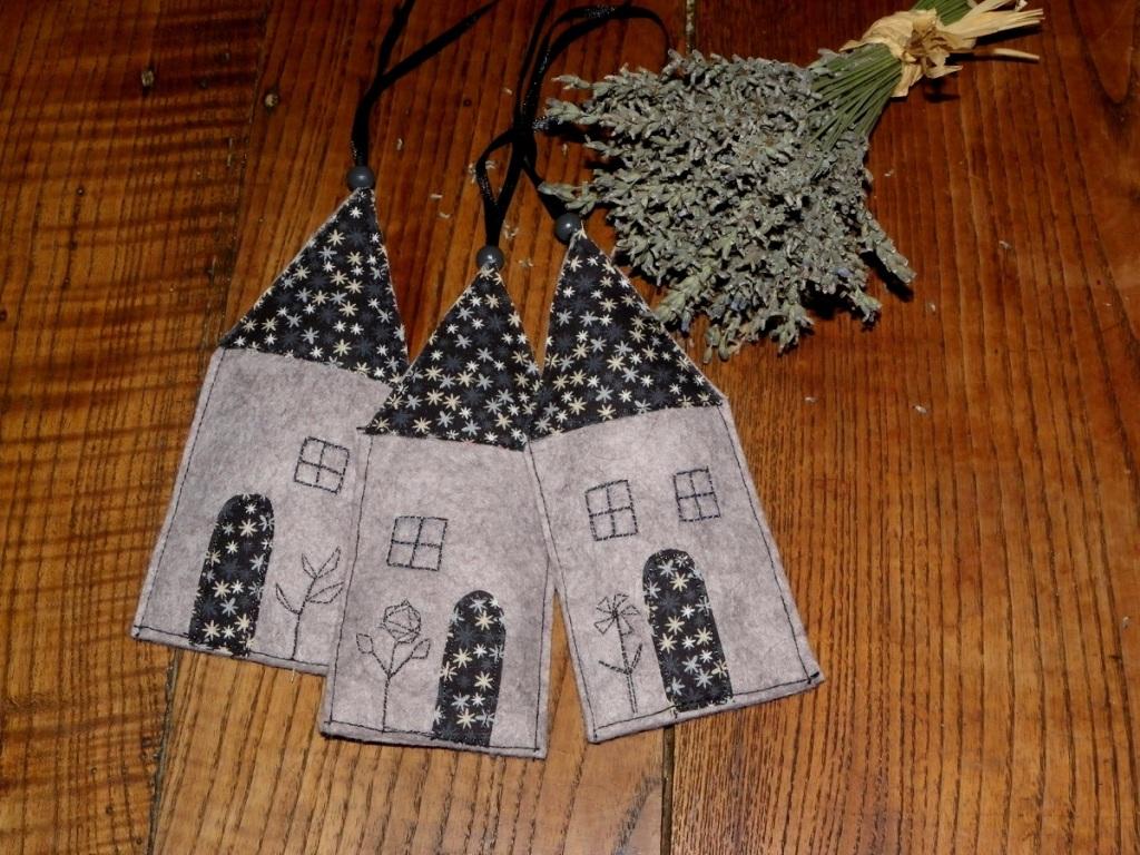 coussinets de lavande en forme de maison, en feutrine et tissu