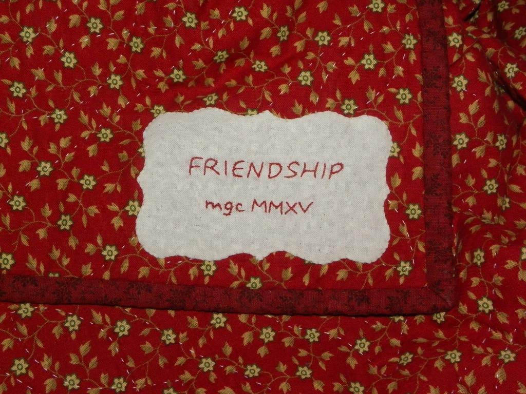 étiquette courtepointe Friendship